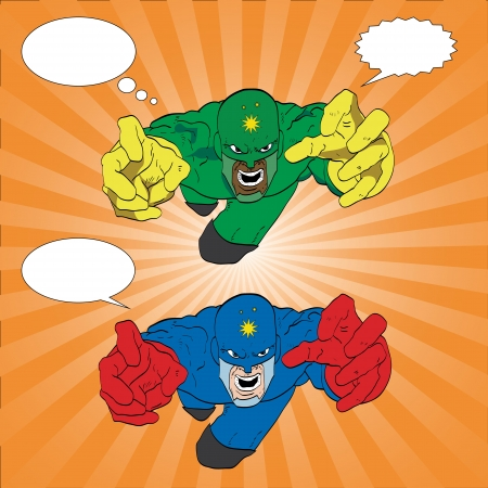 Hand drawn vector illustration of a super hero