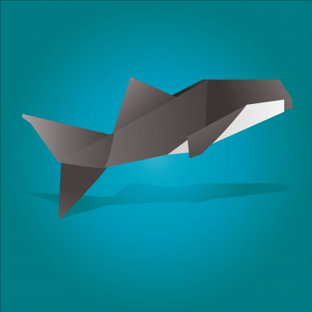 vector illustration of an origami whale