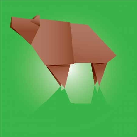 vector illustration of an origami bear