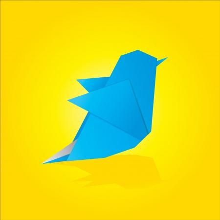 blue bird: Vector illustration of an origami bird