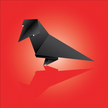 vector illustration of an origami crow Illustration