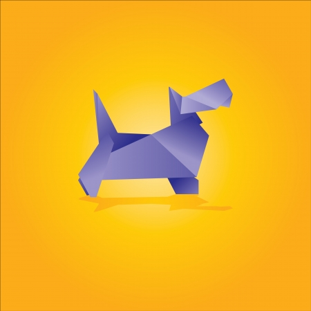 vector illustration of an origami dog