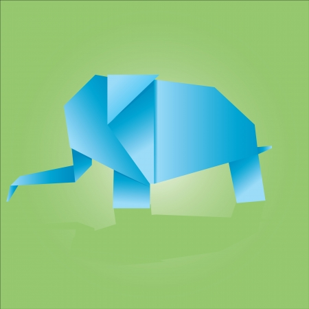 vector illustration of an origami elephant