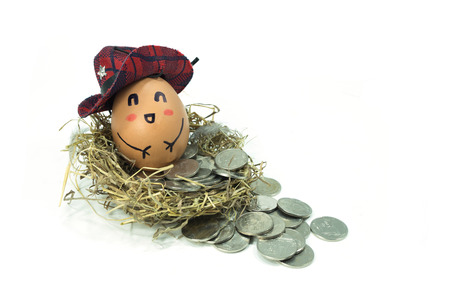 cowboy egg  in a nest on coins photo