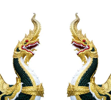 naga china: Golden king of Naga in white background Stock Photo