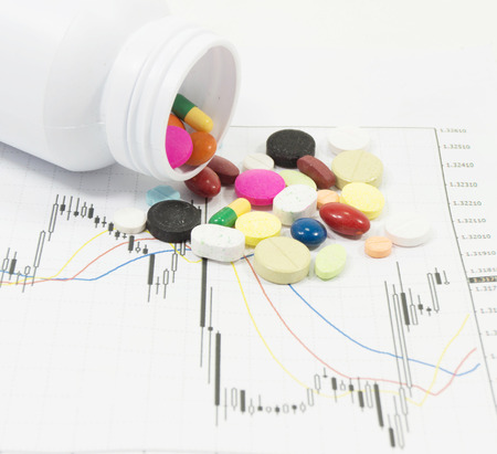 Pills spilling on stock chart - market analysis photo