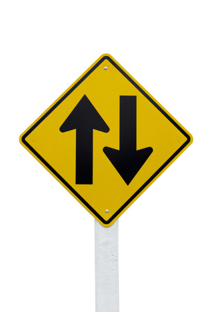one lane sign: Two way traffic sign isolated on white Stock Photo