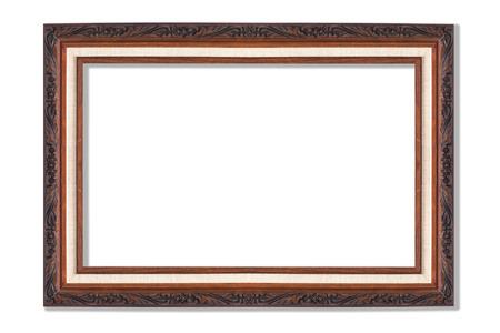 wooden frame isolated on white background photo