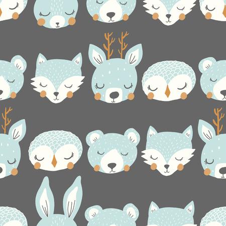 Vector sleepy animals on gray background