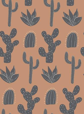 vector cacti field seamless repepat patern background