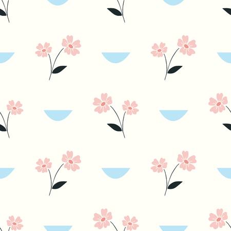 flowers and scallops vector seamless repeat pattern Illustration