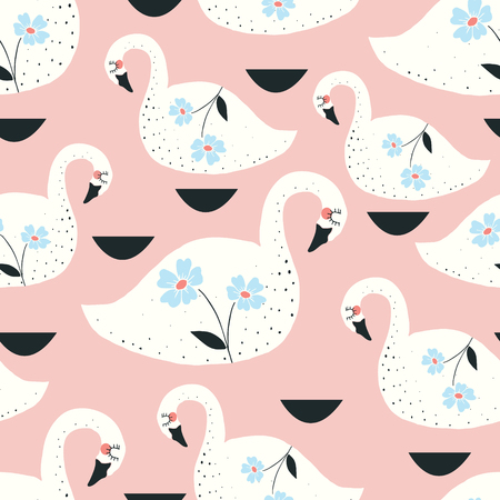 swans and flowers vector seamless repeat pattern