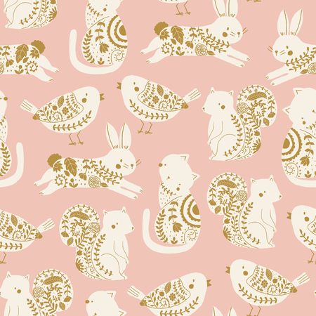 garden animals vector seamless pattern. Kids pink background with cute animals, birds and plants