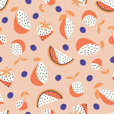 vector fruits seamless repeat pattern