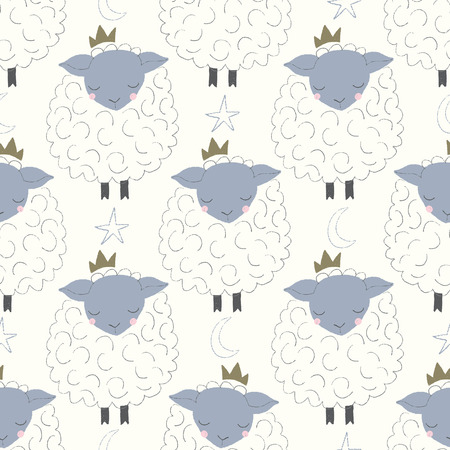 vector sleepy sheep with crowns seamless repeat pattern Stock Illustratie