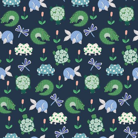 vector cute swamp animals repeat pattern with frogs, crocodiles, fish and turtles on a dark blue background