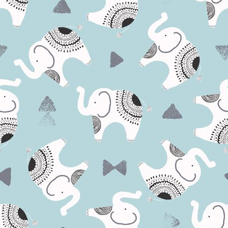cute elephants and textured triangles vector repeat pattern background in white, black and blue Foto de archivo - 133201173
