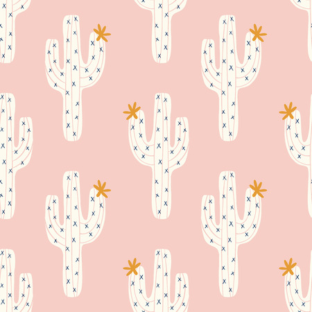 seamless cactus pattern with vector white cactus and golen blooms on a pink background
