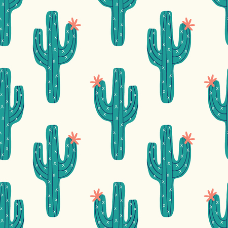 vector seamless cactus pattern with green cactus on a cream background