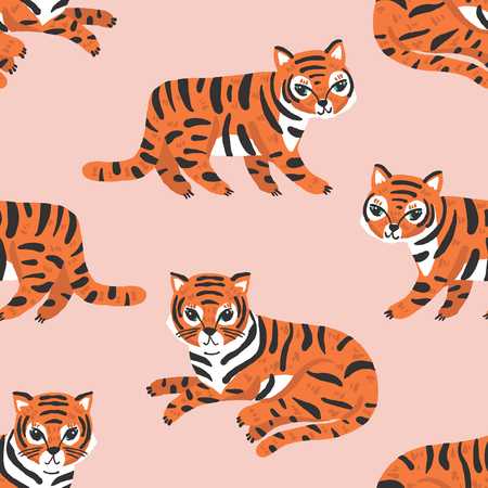 Vector seamless pattern with cute tigers in orange on a blush pink background 矢量图像