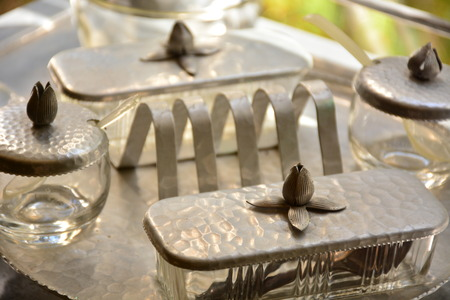 antique dishes: antique serving dishes Stock Photo