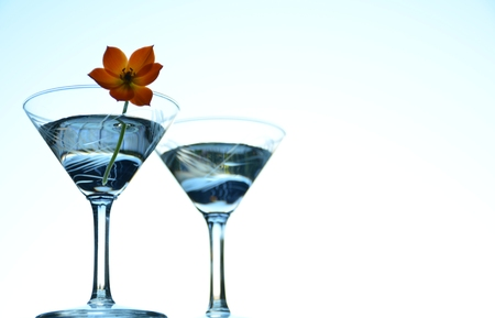 martinis against a light blue background Stock Photo