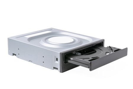 opened drive CD - DVD - Blu Ray with a black cap on a white background, CD-ROM, DVD-ROM, BD-ROM