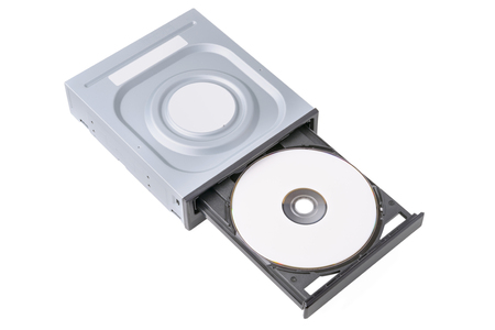 diskdrive: opened drive CD - DVD - Blu Ray with a black cap and white disk on a white background, CD-ROM, DVD-ROM, BD-ROM Stock Photo