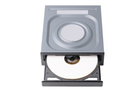 opened drive CD - DVD - Blu Ray with a black cap and white disk on a white background, CD-ROM, DVD-ROM, BD-ROM Stock Photo
