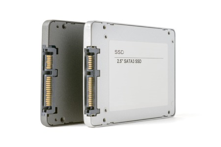 couple solid state SATA drives on the white background, two SSD