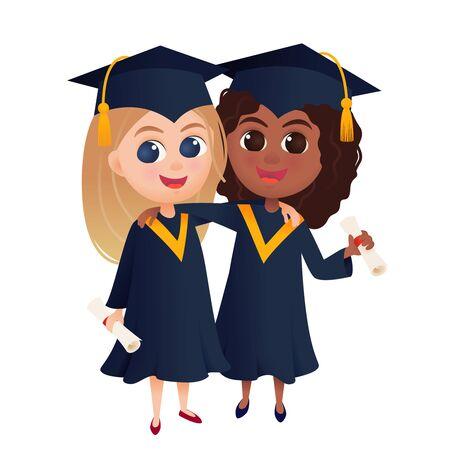 Happy graduate students in graduation gowns holding diplomas, cartoon vector illustration