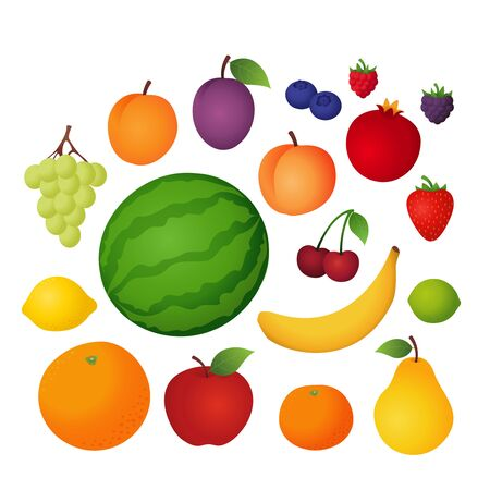 Fruit vector set, cartoon icon collection isolated on white
