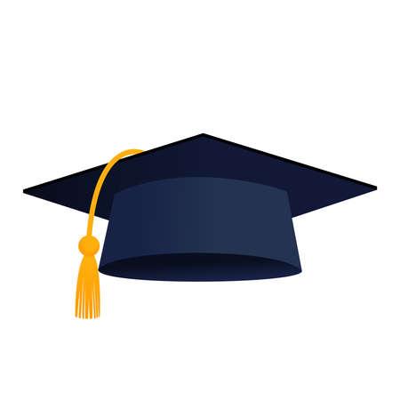 Graduation cap hat isolated vector icon