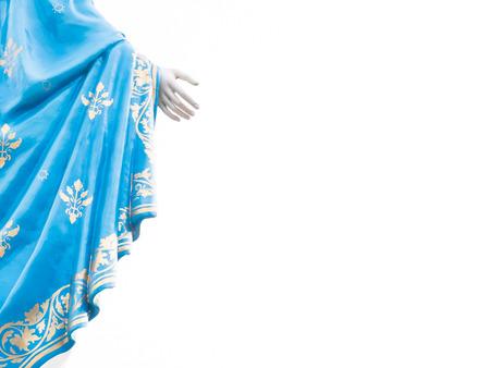 Rechterhand van de Maagd Maria standbeeld figuur geïsoleerd Stockfoto