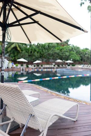 Swimming pool. Luxury hotel in Pattaya, Thailand. Summer beach vacation.