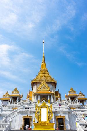Traimit Temple at Bangkok, Thailand. Blue sky.