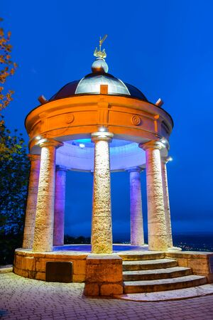 Rotunda on top of the viewpoint when blue sky turning twilight in Pyatigorsk city, Russia Archivio Fotografico