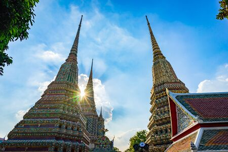 Wat Pho or The temple of the reclining buddha, one of the most famous temple of tourists in Bangkok, Thailand