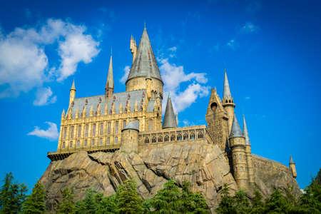 Hogwarts Castle school in Harry Potter theme movie at Universal Studios in Osaka, Japan.