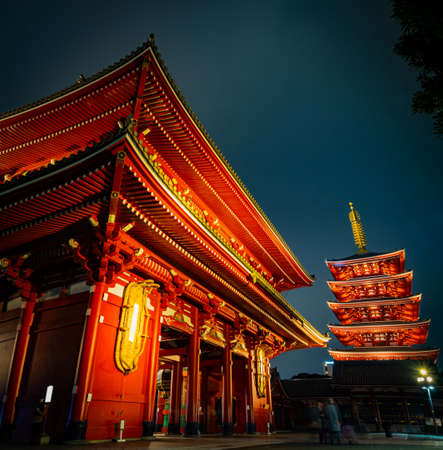Sensoji Temple in Asakusa is the most famous and be the destination of tourist. Shoot in the night. Tokyo, Japan.