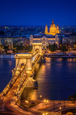 city by night: Panorama of Budapest, Hungary, with the Chain Bridge  in twilight