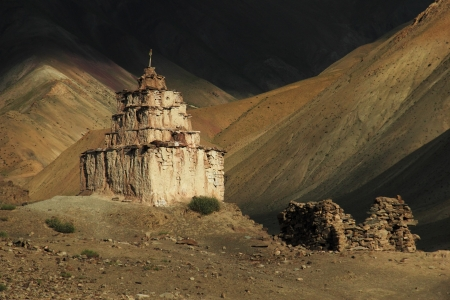 Old stupa in Runback village, Ladakh, Northern India  Stock Photo