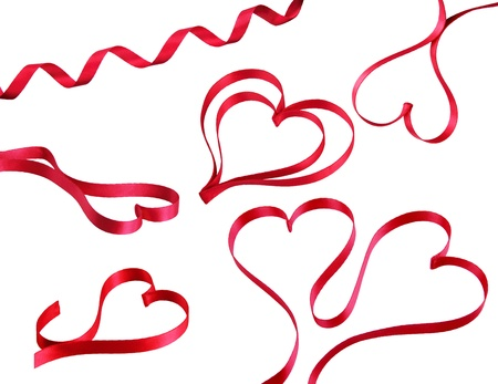 Red heart ribbons Stock Photo