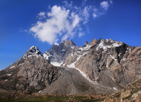 White cloud   above mountain Ladakh range, Northern India