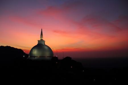 Mahaseya Stupa at sunset, Mihintale, Sri Lanka  Stock Photo