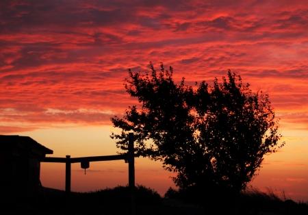 Sunset at the village, Krasnodar Krai, Russia Stock Photo - 17511591