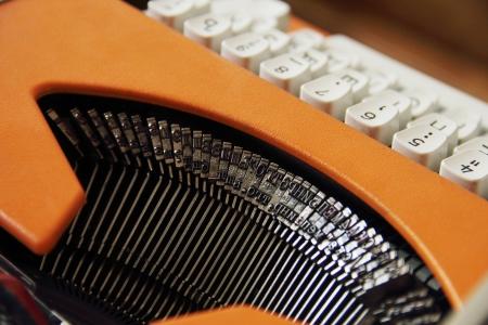 typewriter desk Stock Photo