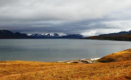 Autumn Arctic landscape in Spitsbergen  Svalbard  Stock Photo