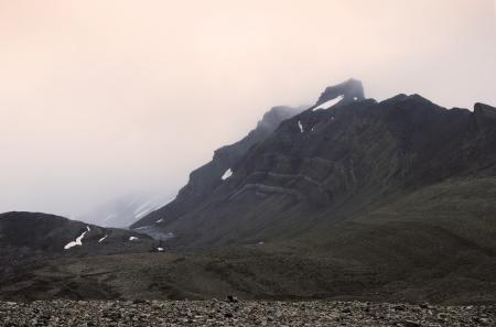 Rock near Aldegold s glacier, Spitsbergen  Svalbard  Stock Photo