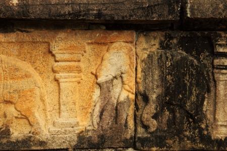 Relief with elephant in Pollonaruva Temple, Sri Lanka